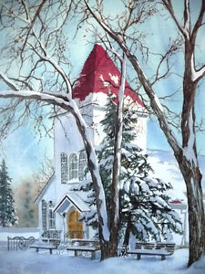 """Hand Signed and Titled Lithograph by Terry Kleemola """"The Chapel"""" Stratford Kitchener Area image 2"""