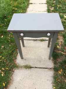 Grey distressed accent table with ceramic knobs and small drawer London Ontario image 4