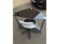 Black glass & Crome corner desk with adjustable height desk chair