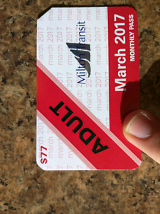 March 2017 Milton Transit Monthly Bus Pass