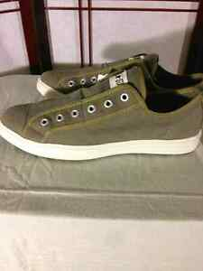New men's size 12 slip on army green canvas Converse shoes.