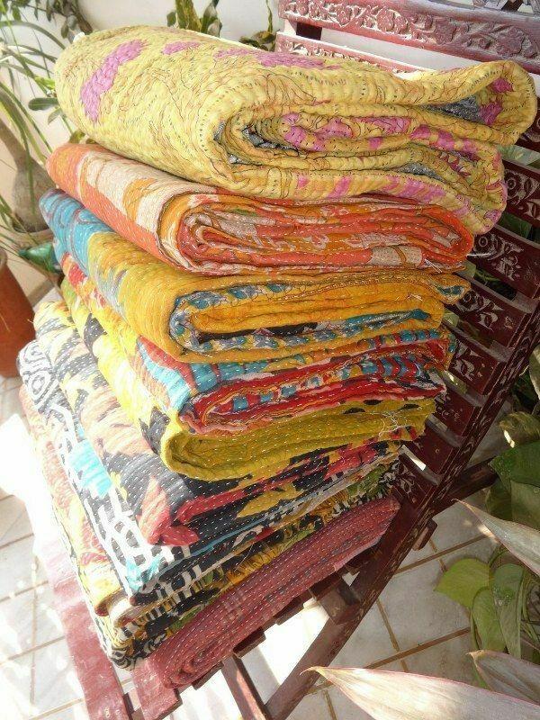 wholesale lot indian kantha vintage blanket throw