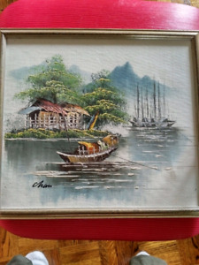 Painting on canvas. No damage to the painting.