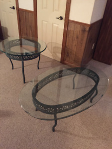 Wrought iron glass top coffee table and side table