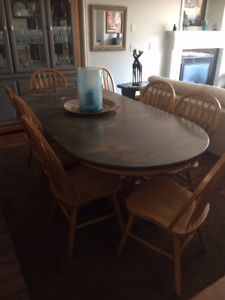 Solid Oak Dining Table with 8 Chairs