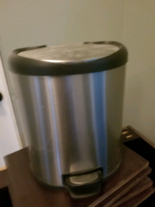 Small metal garbage can