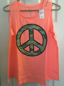 "NEW GIRLS JUSTICE ""Peace"" TANK TOP (Salmon) 20 Plus"
