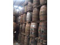 Solid oak whiskey barrels (empty)