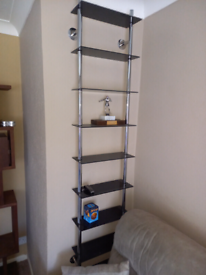 REDUCED Wall mounted Glass & Chrome shelving unit