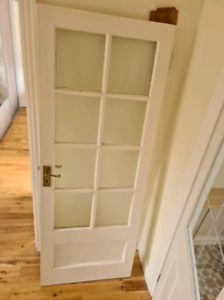 Period Vintage Solid Wood Interior Door With Glass