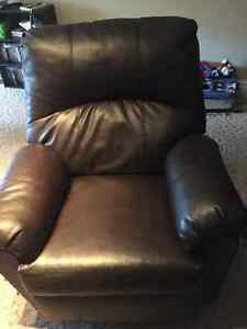 Brown faux leather recliner