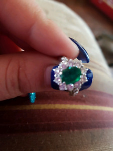 14k emerald and diamond ring with certificate