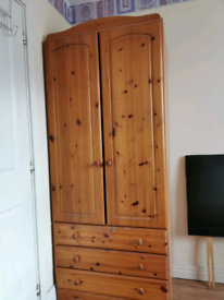 Pinewood wardrobe with 3 x drawers