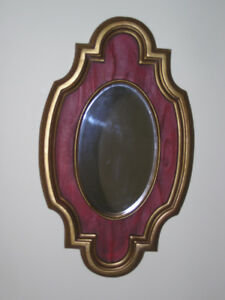 Oval Wall Mirror With Burgundy Gold Tone Frame Like New