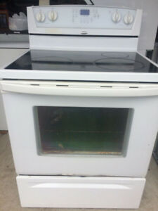 White Whirlpool Glass Top Stove..$265/=Warranty...416 473 1859