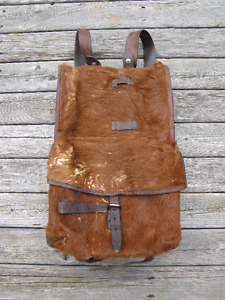 Old 1940s WWII Swiss Army Cow Hide Backpack with Soldier Name!