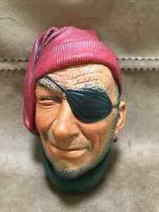"""BOSSONS (England) Painted Chalkware Head """"Pirate/Smuggler"""""""