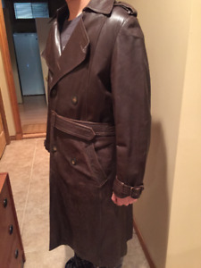 Men's Full Length Leather Coat