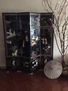 black chinese original folding screen