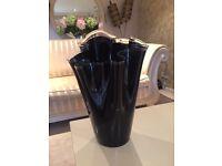 Large Black Glass John Lewis Vase