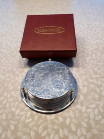 Set of 6 Silver Plated Coaster Drinks Mats