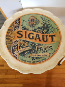 Antique decoupage scallop edge side tables