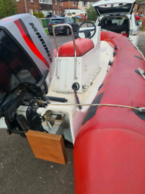 4.7m rib boat with mariner 50hp outboard and roller trailer