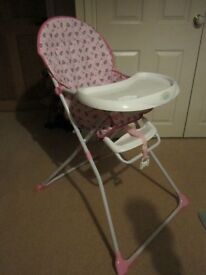 High Chair Tiny Tatty Teddy Pink Highchair Used Only Once - As New!