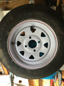 TRAILER TIRE AND RIM 4-BOLTS