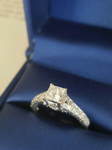 Size 7* 14K White Gold Princess Cut Diamond Engagement Ring