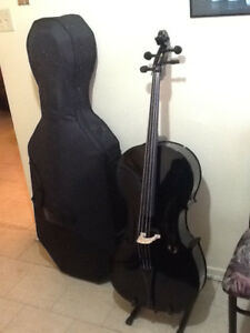 NEW Cello 4/4 Black -New Hard Case, New Soft Case, 2 New Bows,
