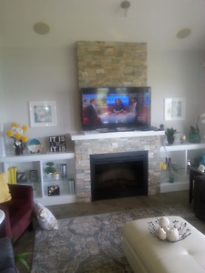 Wall unit with electric fireplace