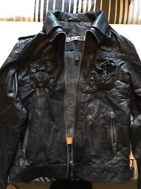 SUPERDRY Leather Jacket. Worn once. Size large