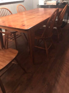Mennonite Harvest Table with six matching chairs