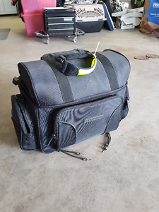Motorcycle bag with cooler and rain cover