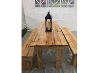 Wooden table with 2 benches