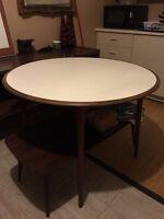 "Mid century Danish Teak dining room round table 42"" melamine top"