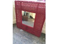 Red stylish wooden mirror for sale