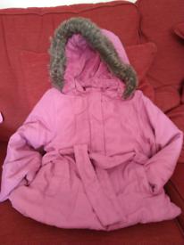 John Lewis girls winter coat with detachable hood, age 3-4 years,