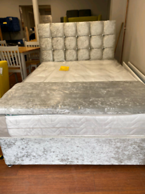 1. Brand new crushed velvet bed and orthopedic mattress