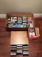 Lot of approximately 200 cassette tapes and case