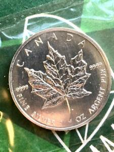 1999 Canada 1 oz Silver Maple Leaf $5 Coin ~ BU in Mint Seal