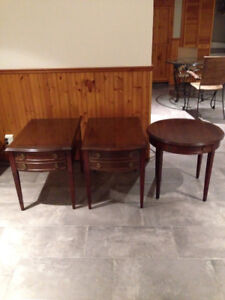 2 side tables &. An occasional or coffee table wood with glass