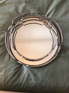 Set of Two Trays - Glass and Metal Trays