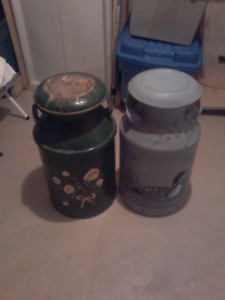 Toll painted antique milk cans (pair of 2)