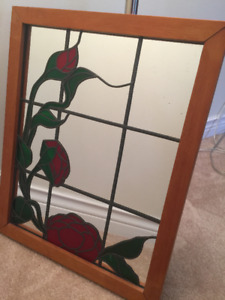 Stained glass rose wall mirror