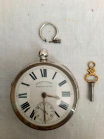 Solid silver antique pocket watch.