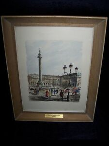 "HAND COLORED PRINT SIGNED ""LES PLACES VENDOMES"" BY G.LELONG."