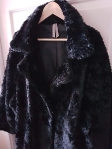 Black Faux Lamb Fur Coat - Knee Length Plus Size 3X *Like New*