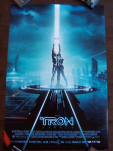 TRON LEGACY original double sided 1 sheet movie theater poster
